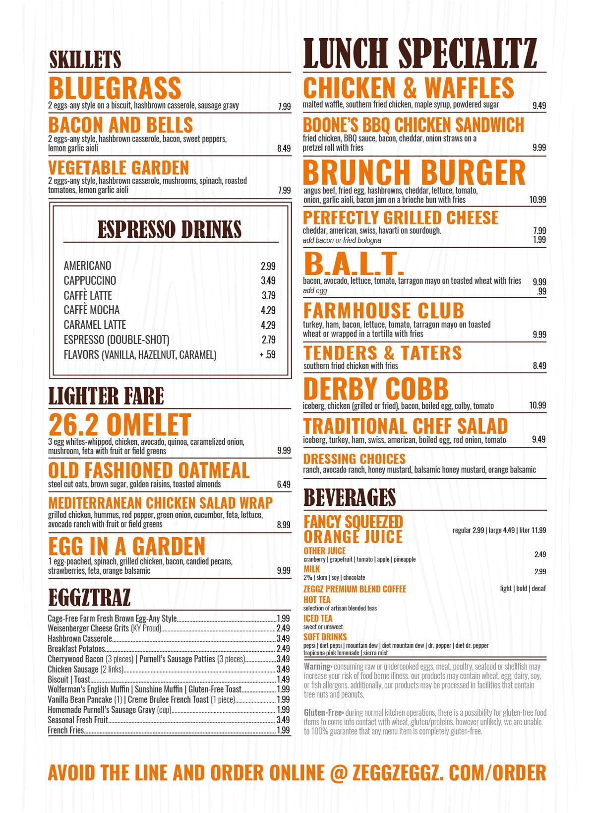 ZEGGZ menu Louisville